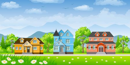 buzzer: Landscape with three classic houses Illustration