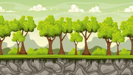 forest trees: Seamless nature cartoon background, vector illustration with separate layers