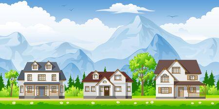 urbane: Landscape with three classic houses Illustration