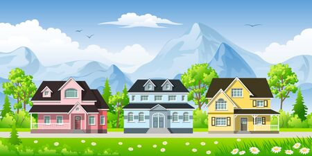 urbane: Landscape with three classic houses Illustration