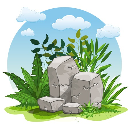 buzzer: Illustration of cartoon stones against white background