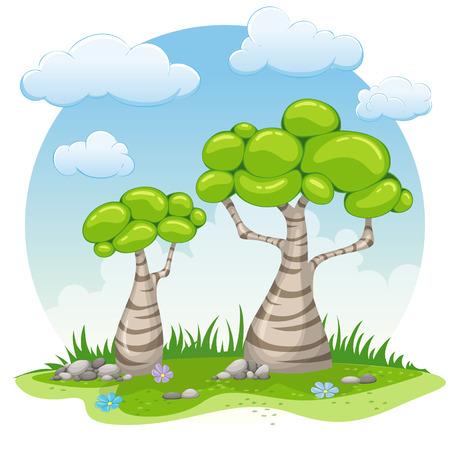 Two cartoon trees illustration Ilustração