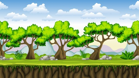 graduacion caricatura: Seamless nature cartoon background, vector illustration with separate layers