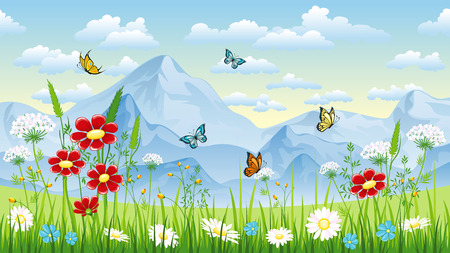 moutains: Floral background with butterflies and moutains