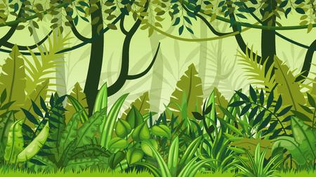 シームレスな自然のジャングルの漫画の風景  イラスト・ベクター素材