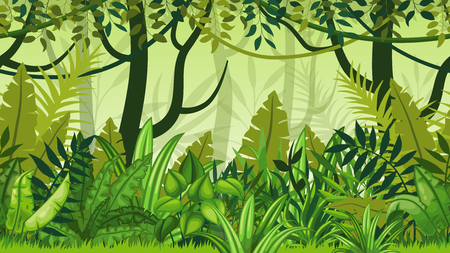 jungle green: Seamless nature jungle cartoon landscape Illustration