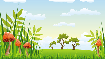 buzzer: Illustration of a landscape with mushrooms