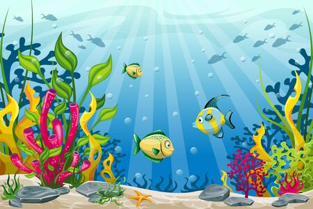 Illustration of underwater landscape with fish and stones