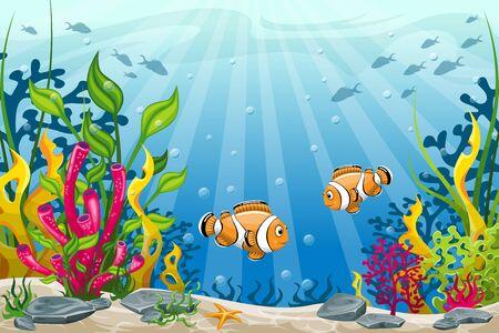 pez payaso: Ilustraci�n del paisaje bajo el agua con peces payaso