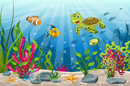 Illustration of underwater landscape with turtle and fish Иллюстрация