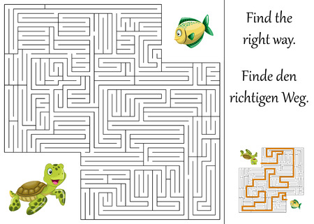riddles: Education maze or labyrinth for children with turtle and fish