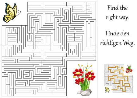 quizzes: Education maze or labyrinth for children with butterfly and flower