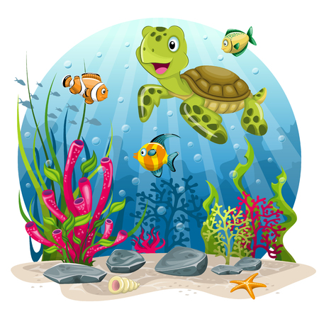 Turtle and fish in the sea Иллюстрация