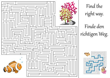 quizzes: Education maze or labyrinth for children with clown fish and plants