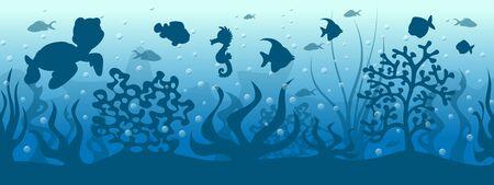 Seamless underwater background with fish Иллюстрация