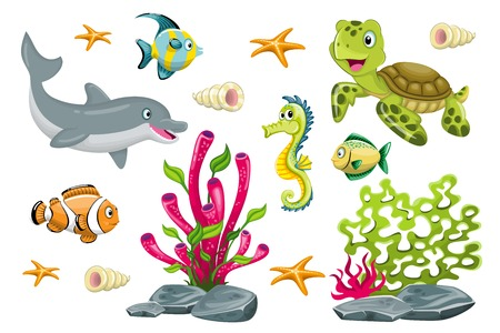 Set of cartoon marine animals Vectores