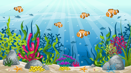 clownfish: Illustration of underwater landscape with clownfish