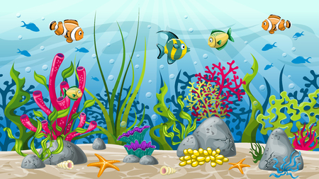 Illustration of underwater landscape with plant and fish Иллюстрация