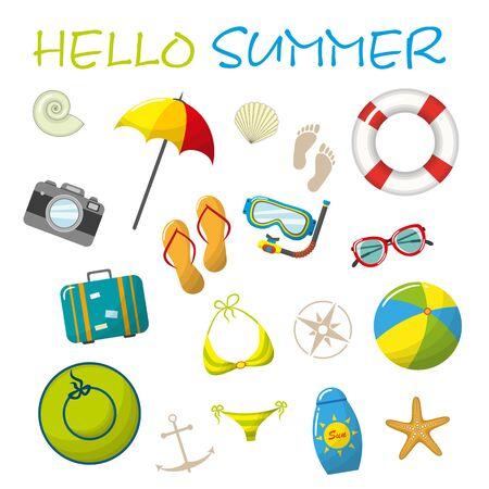 sunshade: Set of cartoon summer accessories Illustration
