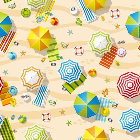 resort: Seamless beach resort with colorful beach umbrellas Illustration