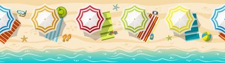 beach panorama: Seamless beach resort panorama with colorful beach umbrellas Illustration