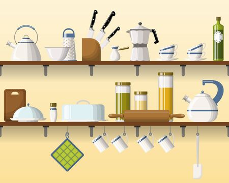 shelving: Kitchen shelving with tableware, seamless Illustration