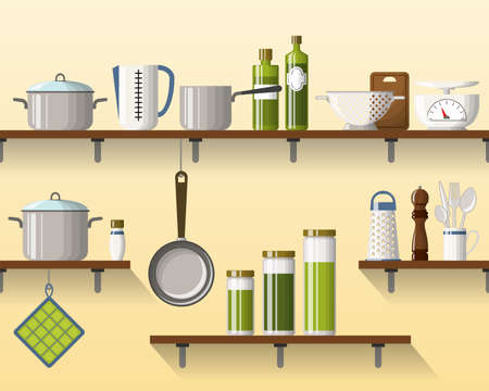 measuring spoon: Kitchen shelving with tableware, seamless Illustration