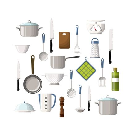 pepper mill: Set of cooking utensils Illustration