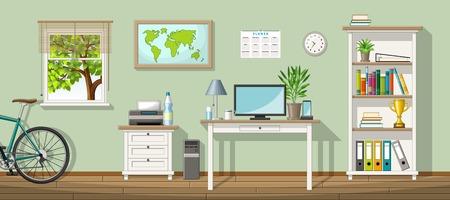 Illustratie van een klassieke kantoor aan huis Vector Illustratie