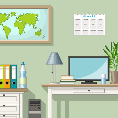 home furniture: Illustration of a classic home office Illustration