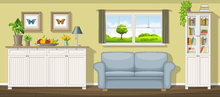 Illustration of a classic living room Vetores