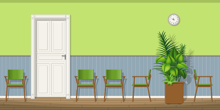 waiting room: Illustration of a waiting room with chairs