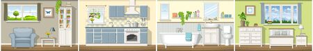 Illustration with four classic residential interiors, panorama Illustration