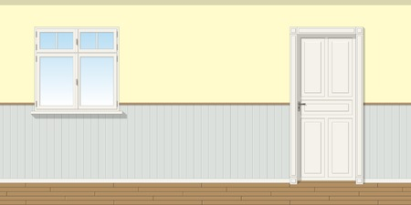 room door: Illustration of a room with door and window, seamless
