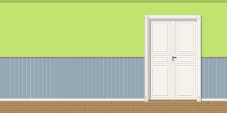 room door: Illustration of a room with door, seamless Illustration