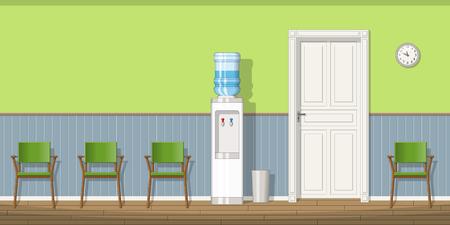 Illustratie van een wachtkamer met stoelen