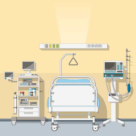 Illustration of intensive care unit Ilustração