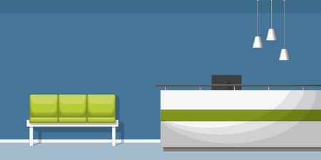 waiting room: Illustration of a waiting room with counter