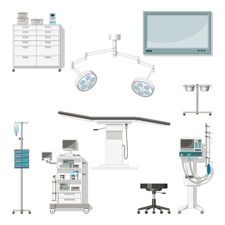 operating room: Set with medical furniture and equipment of a operating room