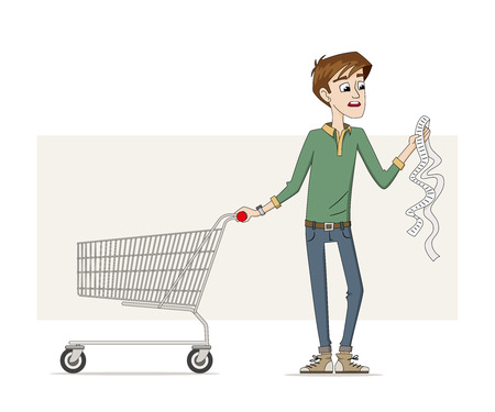 humane: Man with a long shopping list Illustration