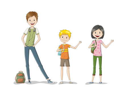 schoolkids: Illustration of three schoolkids