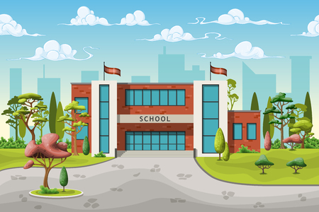 hedges: Illustration of a school building in cartoon style Illustration