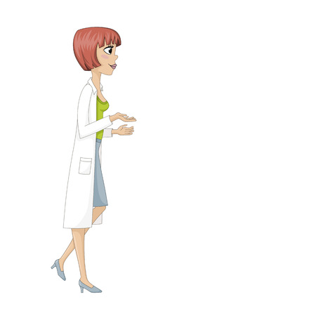 smock: Young woman in Doctors smock Illustration