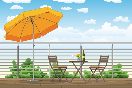 buzzer: Illustration of a balcony, a terrace with tables and chairs