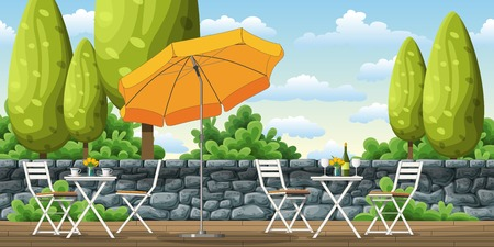 sunshade: Illustration of a terrace with tables and chairs