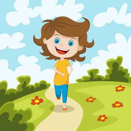 Child running through a meadow