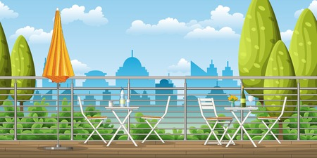 Illustration of a balcony, a terrace with tables and chairs