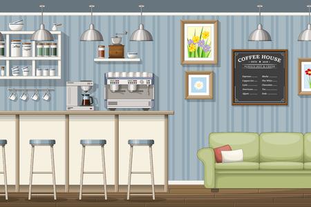 Illustration of a classic coffeeshop