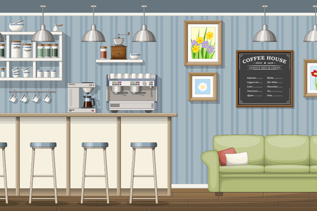 Illustration of a classic coffeeshop
