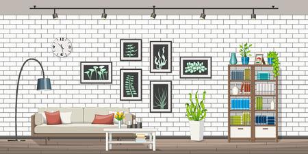 Illustration of interior equipment of a modern living room, panorama Vetores